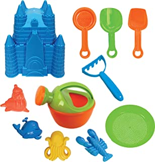 Present Avenue 11 Piece Sand Castle Mold Beach Toy Set with Shovels Scoops and sea Creature molds (Color Varies)