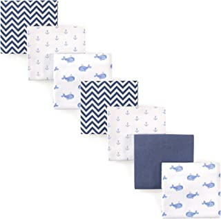 Hudson Baby Unisex Baby Cotton Flannel Receiving Blankets, 7-Pack, Blue Whale, One Size