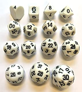 Impact! Miniatures White - 15 Unusual Evens Dice Set - Step Dice RPG / Freeblades - D4 Through D30