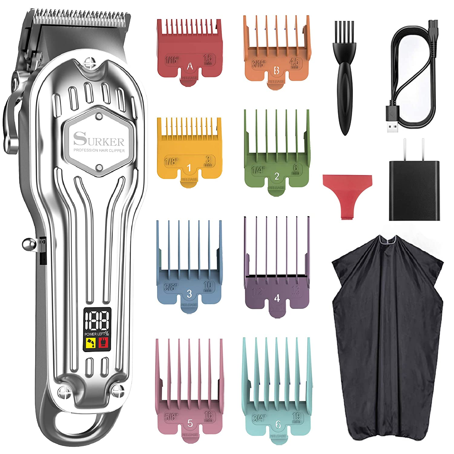 SURKER Mens 70% OFF Outlet Hair Clippers Cordless Professiona Fort Worth Mall Cord Trimmer