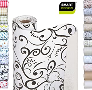 Smart Design Shelf Liner w/Bonded Grip - Wipes Clean - Cutable Material - Non Slip Design - for Shelves, Drawers, Flat Surfaces - Kitchen (12 Inch x 10 Feet) [Midsummer Night Scroll]