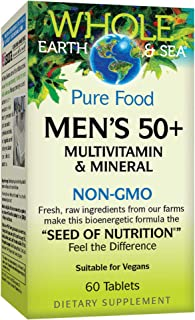 Whole Earth & Sea from Natural Factors, Men's 50+ Multivitamin & Mineral, Whole Food Supplement, Vegan and Gluten Free, 60 Tablets (30 Servings)