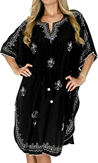 LA LEELA Women's Midi Caftan Cover Ups Beach Evening Party Dress Embroidery A