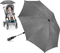 Sonnenschirm Kinderwagen Universal, UV Schutz SPF 50 Sonnenschutz Kinderwagen, Flexibler Sonnenschirm mit Universalhalterung für Runde und Oale Rohre, 73cm Durchmesser Babywagen Schirm Grau meliert
