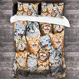 Brown Grey Funny Cat Face Microfiber Comforter Set 86x70 in, Unique 3 Piece Bedding Sets with 2 Pillowcase