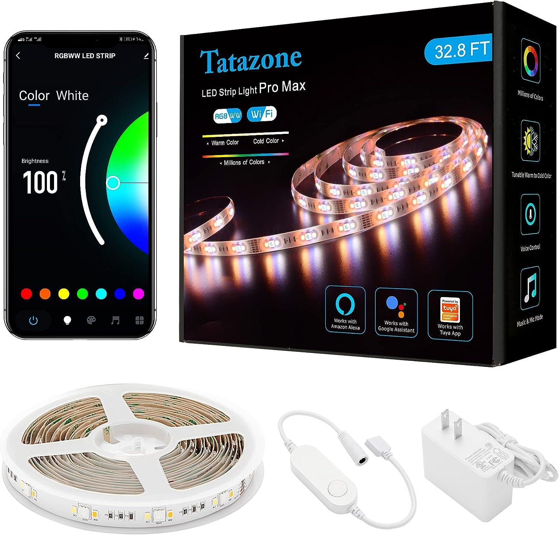 Tatazone Popular brand Seattle Mall 32.8FT RGBWW WiFi Smart W 2700K-6500K Led Lights Strip