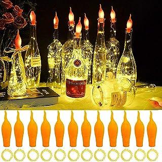 ZJDM Paquete de 10 Luces para Botellas de Vino con Vela de Corcho en Forma de Llama Intermitente, 20 LED, Alambre de Cobre...