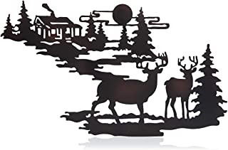 Deer & Woodland Cabin Metal Wall Art – Iron Deer Wall Decor- Forest Cabin Wall..