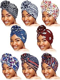 SATINIOR 8 Pieces Turbans African Pattern Knot Headwrap Bohemian Print Pre-Tied Flower Knot Bonnet Hats for Women Girls
