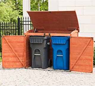 Leisure Season RSS2001 Horizontal Refuse Storage Shed - Brown - Portable Wooden Outdoor Garbage Can Organizer with 2-Door Enclosure and Lid - External Lockable Trash Management Unit - Easy Assembly