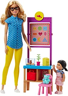 Barbie Teacher Doll with Flipping Blackboard Playset and Sch