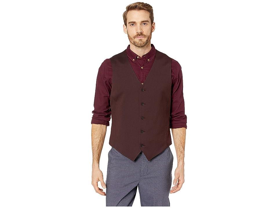 Perry Ellis Slim Fit Stretch Twill Suit Vest (Port) Men