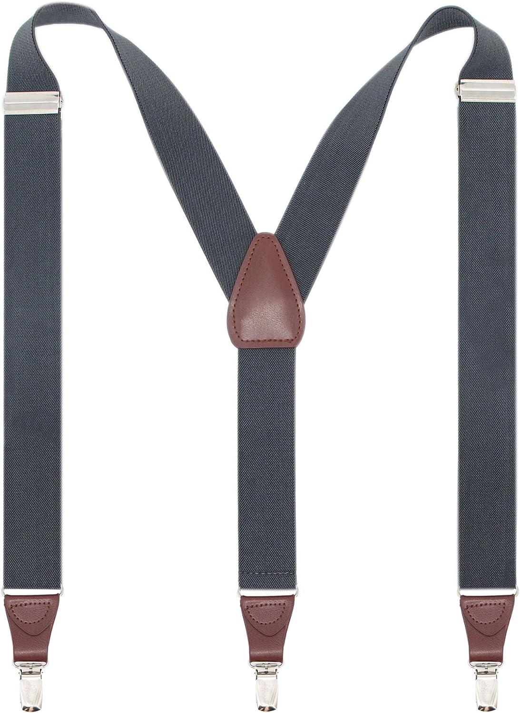 Trust Long Beach Mall Bioterti Men's Y-shape 1.4 Inch E Metal Clips -3 Suspender