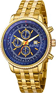 August Steiner Men'S Blue Dial Stainless Steel Band Watch - As8162Ygbu, Gold,