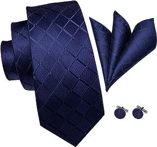 Hi-Tie Classic Mens Blue Tie Necktie Pocket Square Cufflinks Gift Box Set
