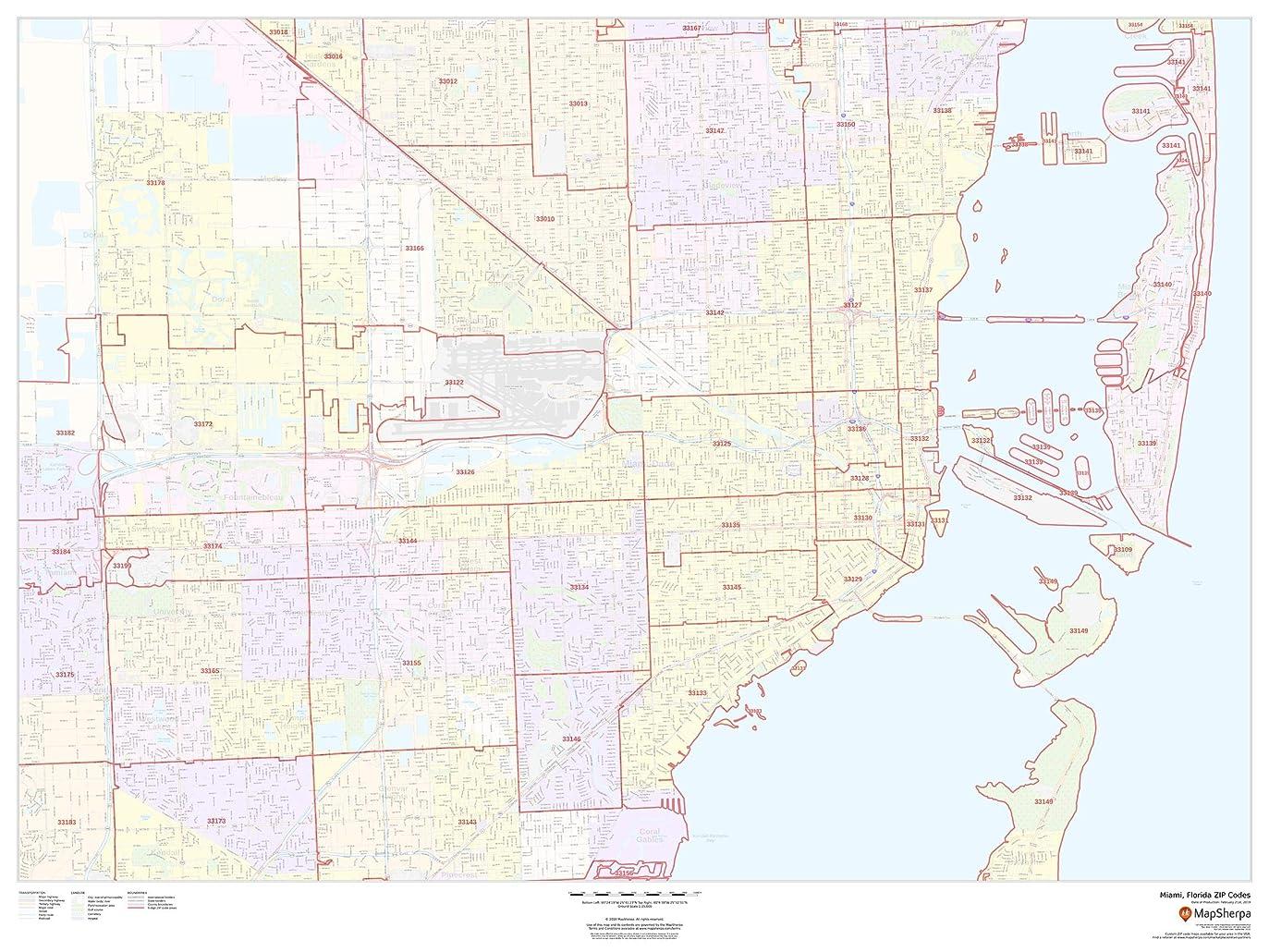 派手のぞき見ゴシップマイアミ フロリダ州 ジップコード 48インチ x 36インチ ペーパーウォールマップ