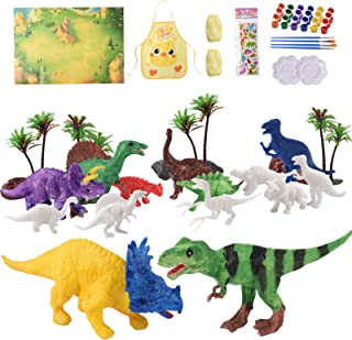 HEYWYBB Arts and Crafts Set for Kids Dinosaur Toys Painting Kit,Paint Your Own Dinosaur Animal Kits and Dinosaur Figurines Creative Activity Toys for 3 4 5 6 7 8 Years Old Boys Girls