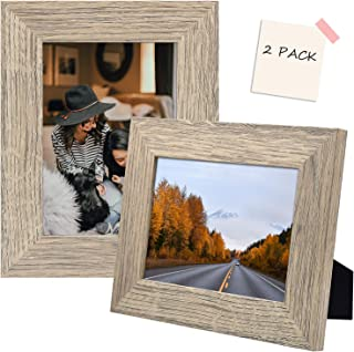 Golden State Art, Set of 2, 5x7 Beige Picture Frame - Wide Molding - Wood Grain Style - Easel for Tabletop Display, Back H...