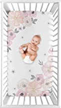 Sweet Jojo Designs Blush Pink, Grey and White Photo Op Baby or Toddler Fitted Crib Sheet for Watercolor Floral Collection