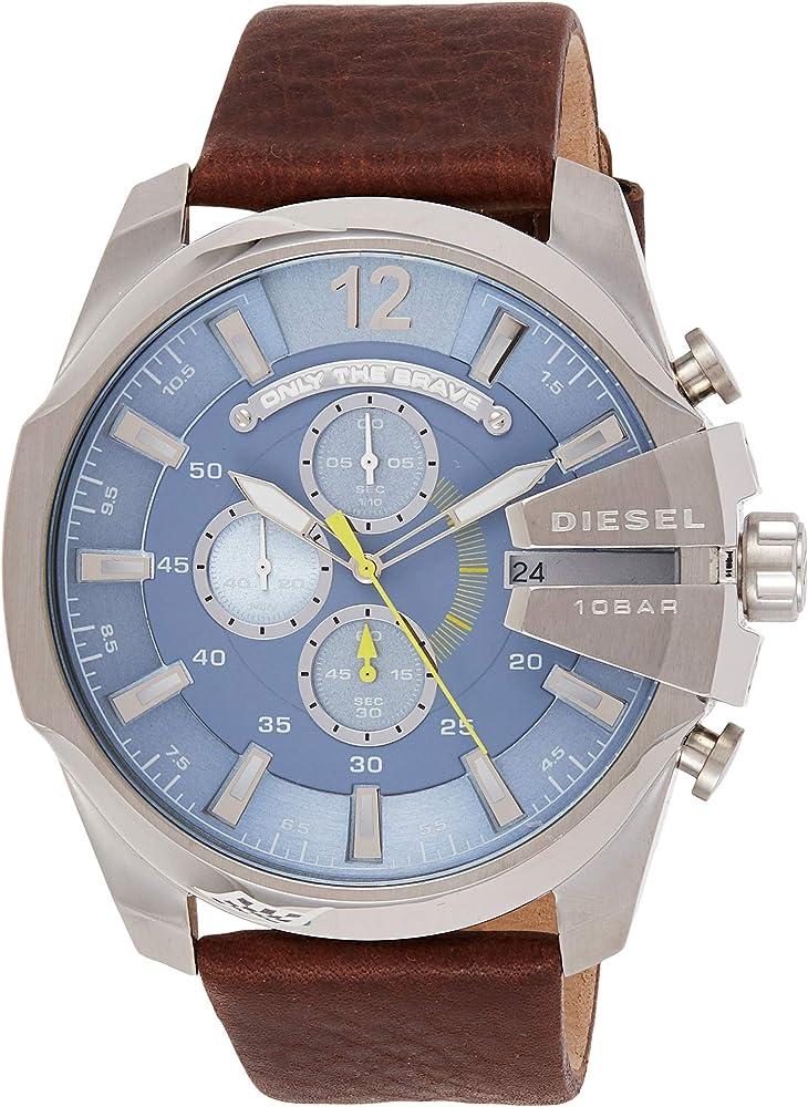 Diesel orologio cronografo uomo con cinturino in vera pelle e cassa in acciaio inossidabile DZ4281