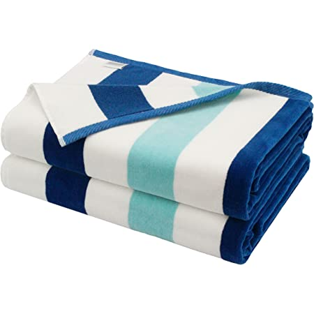 COTTON CRAFT Positano Cabana Stripe Set of 2 Luxury Plush Velour Cotton Beach and Pool Towels, 630GSM, 35 inch x 70 inch, Ocean Blue
