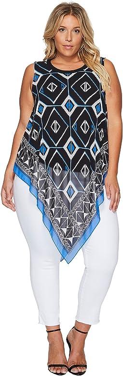 Plus Size Sleeveless Nairobi Graphic Handkerchief Blouse