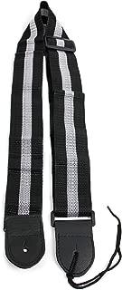 Silver & Black Stripe Guitar Strap For Ibanez, Encore, Chicago, Tiger, Washburn & Rockburn Bass Guitars With Adjustible Buckle