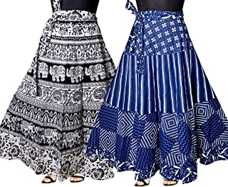 Trendy Fab Women's Cotton Skirt (Multicolor,Free Size) Combo Pack of 2 Peice