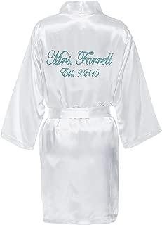 Personalized Mrs. Satin Bridal Robe - White