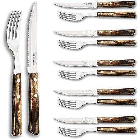 Menuett Steakbesteck Steakmesser Edelstahl mit Holzgriff 12tlg.6 Personen