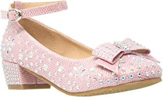 Girl's Dress Shoes Glitter Rhinestone Bow Accent Mary Jane Kids Pumps