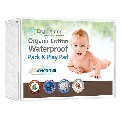 Organic Cotton Waterproof Pack N Play Crib Pad - Natural Baby Crib Mattress Cover and