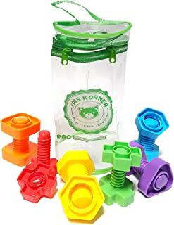 Jumbo Nuts and Bolts For Toddlers - Fine Motor Skills Rainbow Matching Game Montessori Toys For 1 2 3 Year Old Boys and Gi...