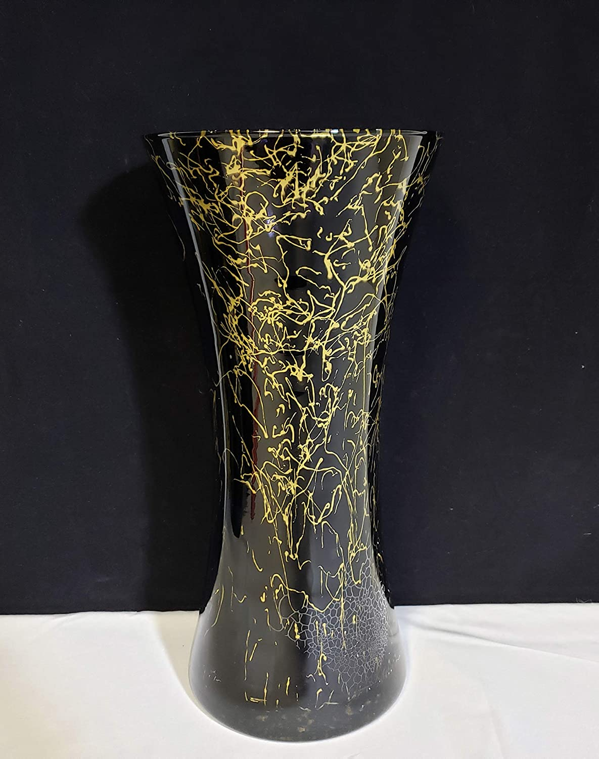 Sale Special Price HORUS Black Gold Marble Design Large Glass VASE Tall Direct store 14