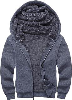 Little Beauty Men's Winter Heavyweight Fleece Sherpa Lined Zipper Hoodie Sweatshirt Jacket