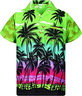 Funky Hawaiian Shirt Men Short-Sleeve Front-Pocket Beach Palm Multi Colors