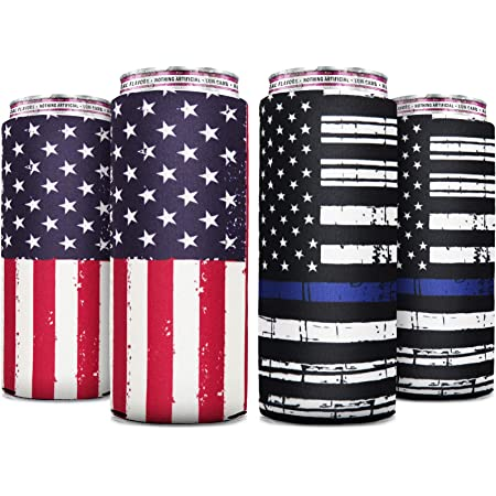 Skinny Can Cooler [ 4 Pack ] Slim Can Cooler for Slim Beer & Hard Seltzer, Skinny Beer Cans Coolie Skinny Insulators, Can Cooler Sleeve Flags
