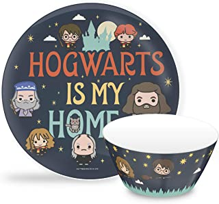 Zak Designs Harry Potter - Kids Dinnerware Set, Including 10in Melamine Plate and 27oz Bowl Set, Durable and Break Resistant Plate and Bowl Makes Mealtime Fun (Melamine, BPA Free)