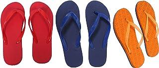 Red, Orange And Dark Blue Combo 3 Women's House Slippers