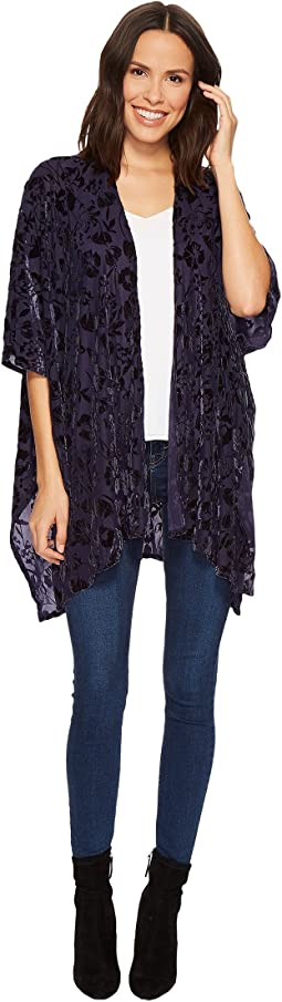 Collection XIIX - Solid Floral Velvet Kimono