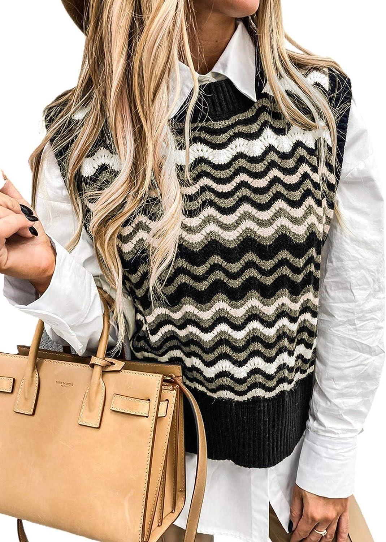 HOTAPEI Sweater Vest Women Crew Neck Preppy Style Knit Sweaters Womens Sleeveless Casual Wave Pattern Tank Tops
