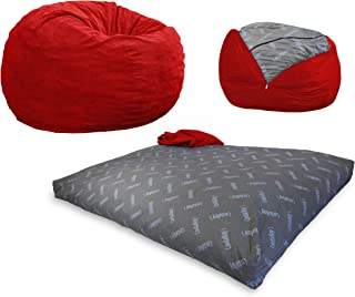 CordaRoy's Bean Bag Chair, Corduroy Convertible Chair Folds from Bean Bag to Bed, As Seen on Shark Tank - Red, Full Size