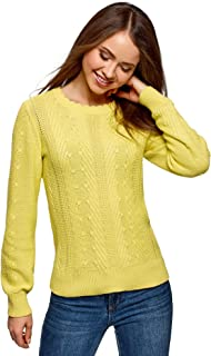oodji Ultra Women's Textured Knit Pullover with Ruffle Neck