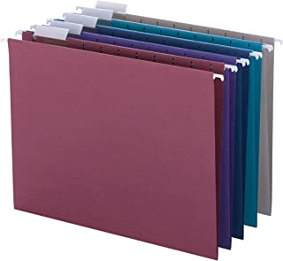 Smead Colored Hanging File Folder with Tab, 1/5-Cut Adjustable Tab, Letter Size, Assorted Jewel Tone Colors, 25 per Box (64056)