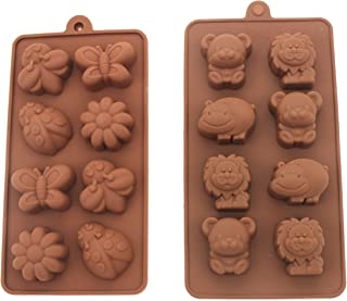 Non-stick Candy Jelly Molds, Chocolate Molds, Soap Molds, Silicone Baking Molds - Forest Theme Happy Bear, Lion, Hippo & Bee, Butterfly - More Fun, Toy Kids Set, Set of 2