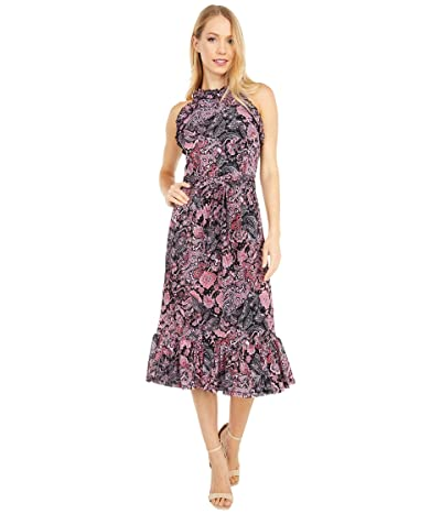 MICHAEL Michael Kors Paisley Ruffle Neck Midi Dress (Geranium) Women
