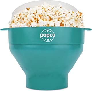 The Original Popco Silicone Microwave Popcorn Popper with Handles, Silicone Popcorn Maker, Collapsible Bowl Bpa Free and D...
