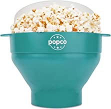 The Original Popco Silicone Microwave Popcorn Popper with Handles, Silicone Popcorn Maker, Collapsible Bowl Bpa Free and Dishwasher Safe - 10 Colors Available (Aqua)