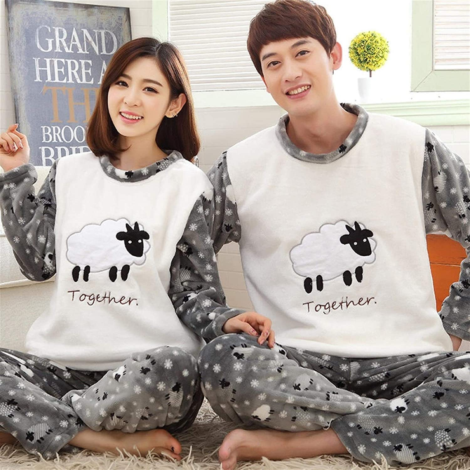 New Couple Flannel Warm Cute Pajamas All items free shipping Suit Challenge the lowest price of Japan Ho Long-Sleeved Casual