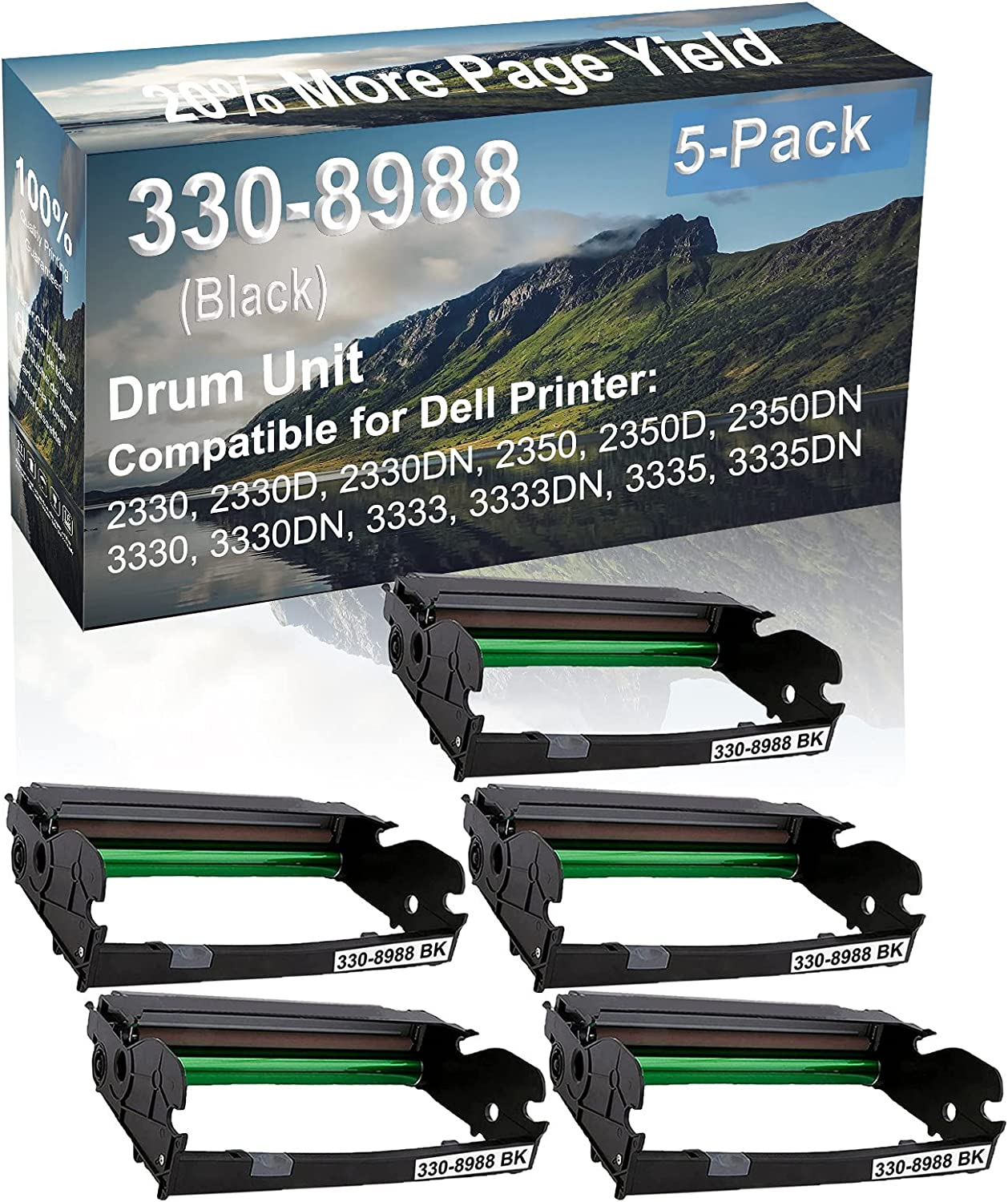 5-Pack Compatible Drum Unit (Black) Replacement for Dell 330-8988 Drum Kit use for Dell 3333, 3333DN, 3335, 3335DN Printer